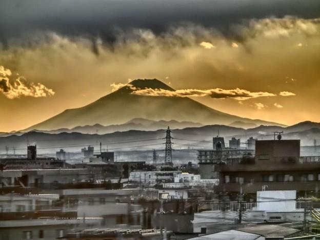 夕方の富士山 東北新幹線大宮にて