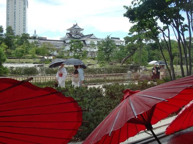富山城の着物姿