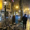 写真: 吹雪の夜 パセオ通り