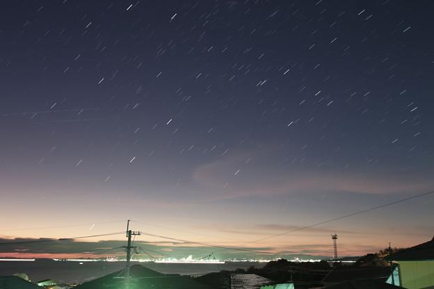 Photos: 昇る火星水星 とスターリンク衛星