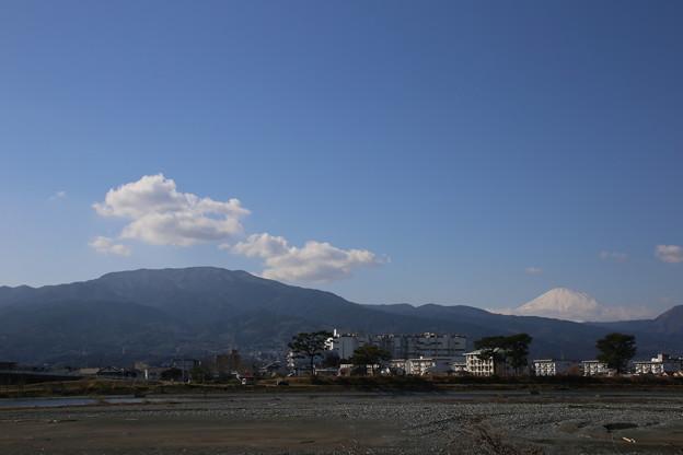 別の場所から見た富士山と箱根山(酒匂川の堤防から)