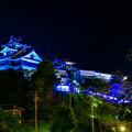 Photos: 医療従事者支援のブルーライトアップ福知山城