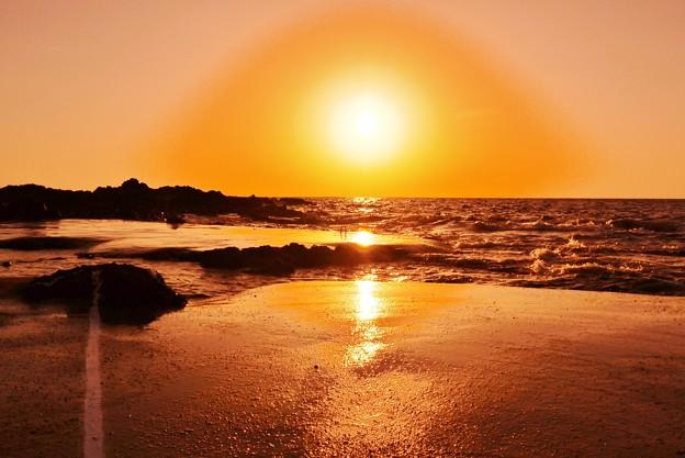 夕景 日本海 岩ノリ畑
