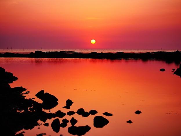 夏の日本海は能登の落陽