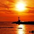落陽  日本海 海の紅葉