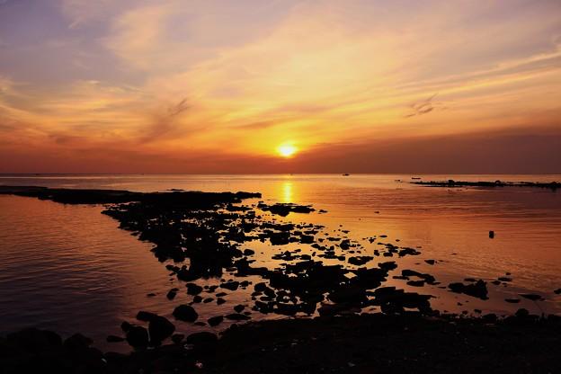 落陽 日本海 赤住漁港