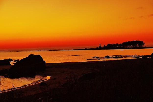 夕焼 能登は安部屋海岸
