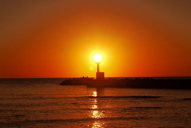 夕景 能登は上野漁港