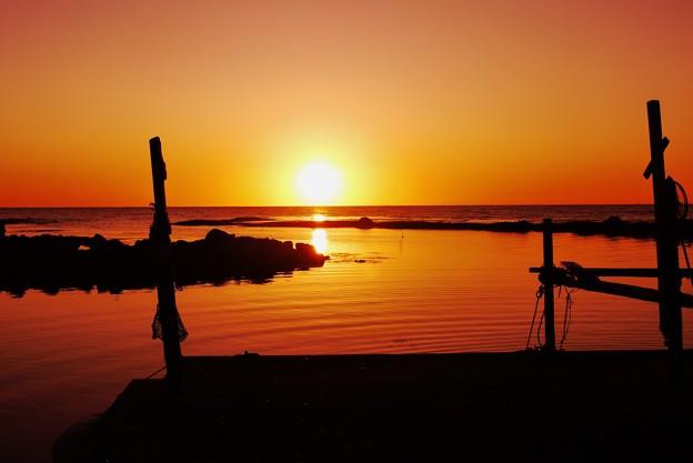 夕景 能登は百浦漁港