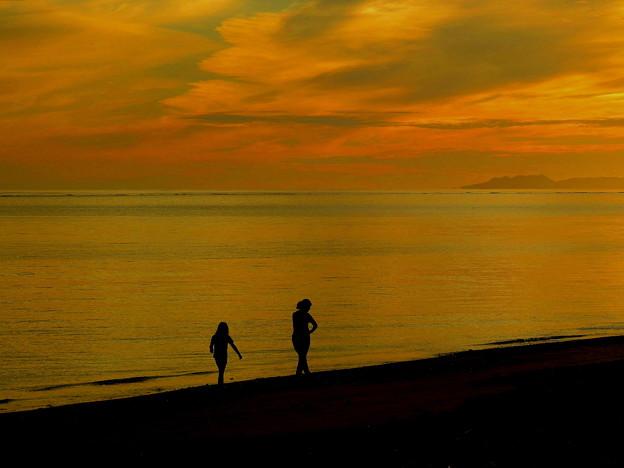 朝焼けの浜で遊ぶ親子なのです^^