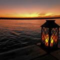 桟橋からの夕日なのです^^