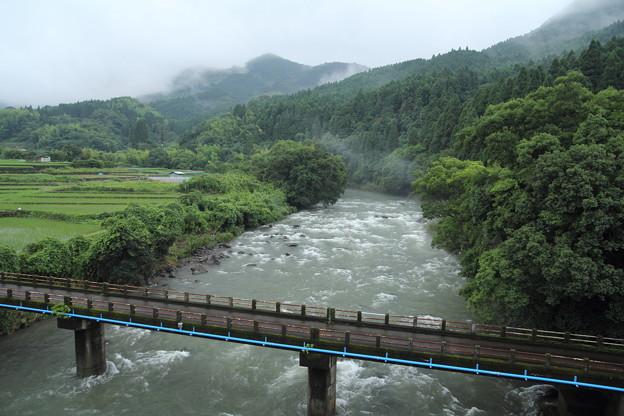 大雨で増水の水俣川