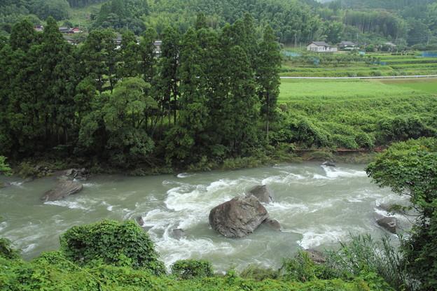 大雨で増水