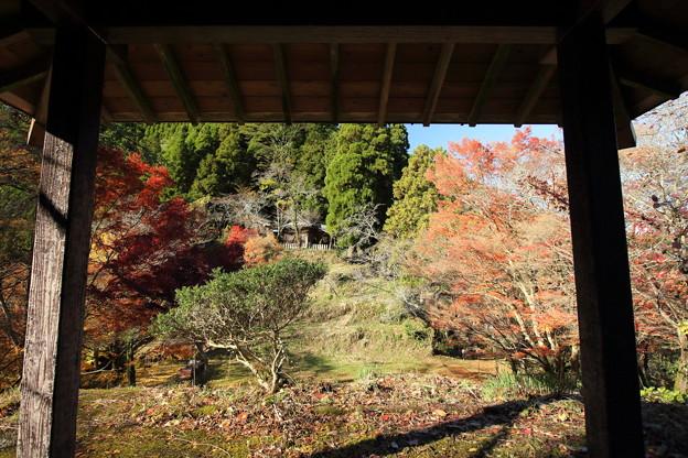 高台の東屋から神社