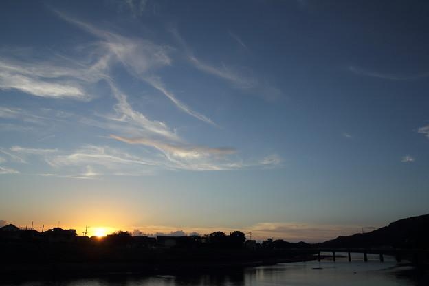 水俣川の夕日