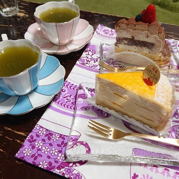バースデーケーキと緑茶