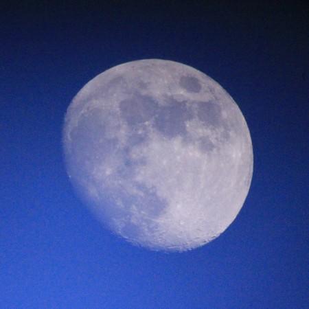 明るい空、白い月