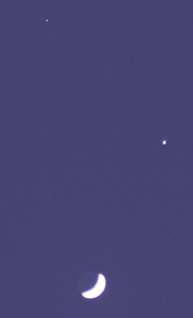 月が土星と木星に近づく