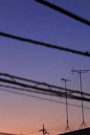 朝焼けと金星
