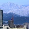 写真: 雪山と背くらべ
