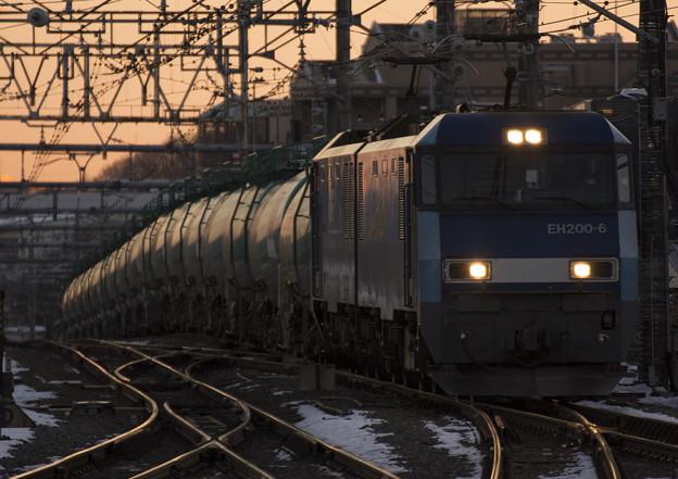 朝を映す貨物列車