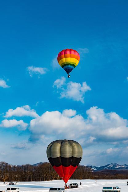 大空に舞う熱気球