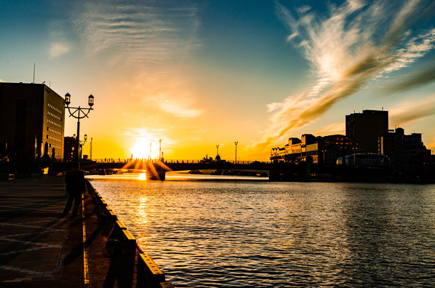 写真: 夕焼けの街