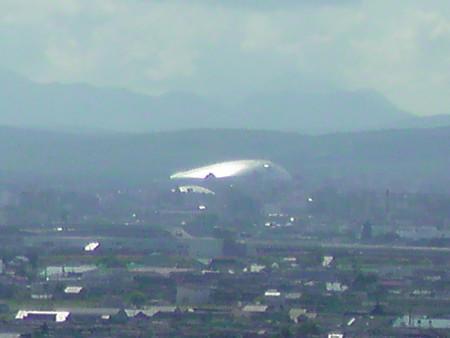 モエレ山から札幌ドームを望む