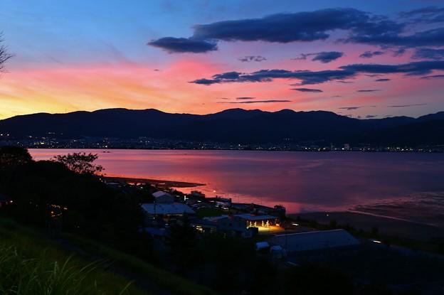 諏訪湖SAより 夏の夕暮れ