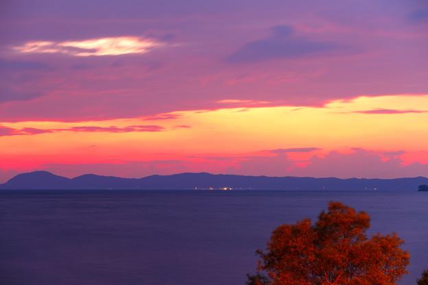 猪苗代湖 上戸浜付近の夕焼け