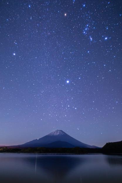 富士山と星空 精進湖にて その4