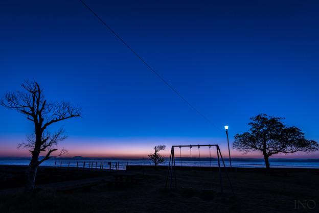 公園の夜明け