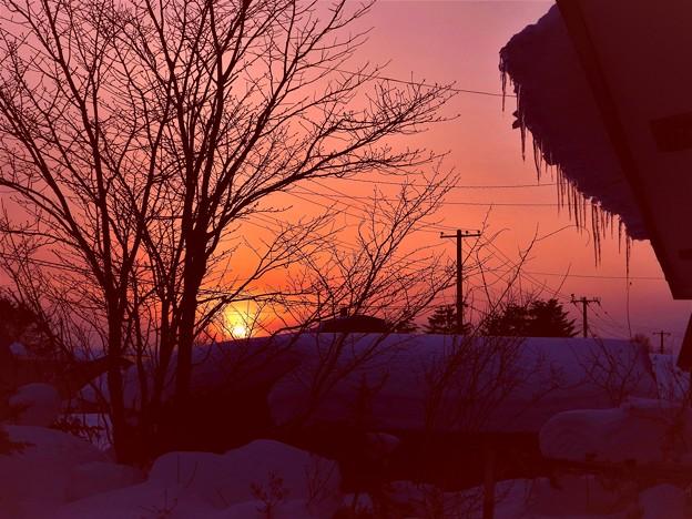 氷柱のある夕景