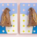まとって飾れる双子ブローチ キングペンギン 雛