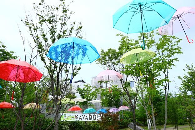 雨空に浮かぶ傘