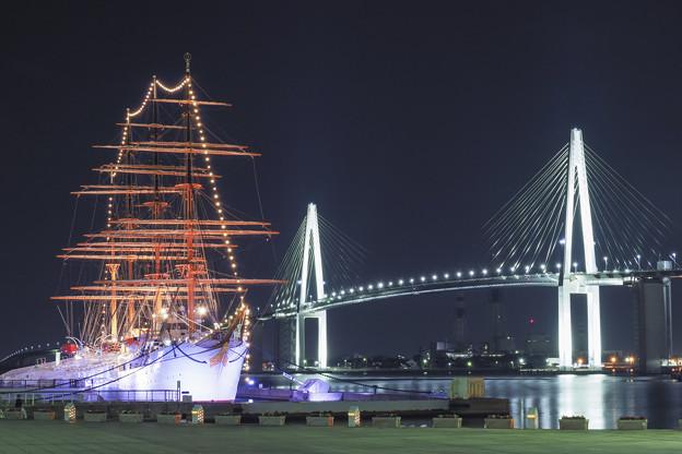 海王丸と新湊大橋