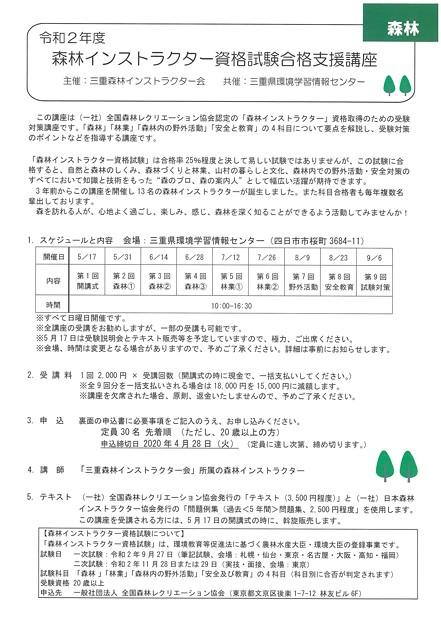 森林インストラクター資格試験降格支援講座1