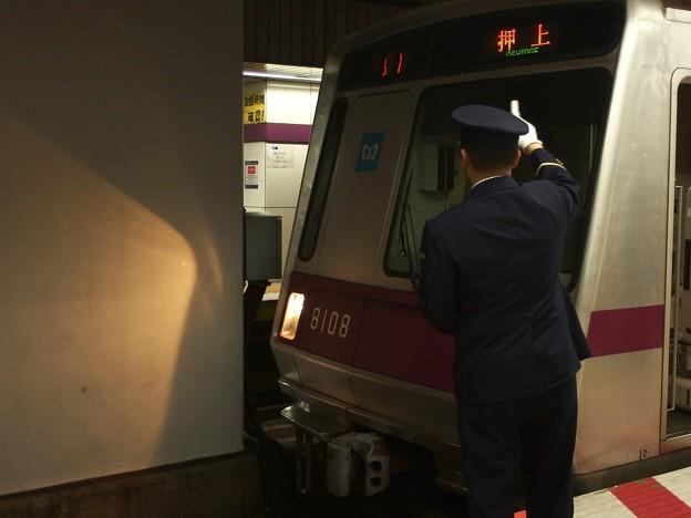 東京メトロ半蔵門線九段下駅4番線 押上行き表示確認