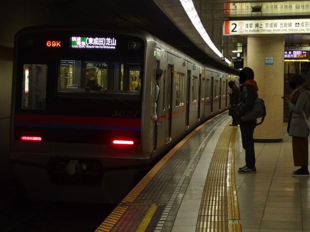 都営浅草線浅草橋駅2番線 京成3027F快速特急芝山千代田行き前方確認