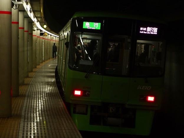 京王新線幡ヶ谷駅2番線 京王8713急行新線新宿行き前方確認