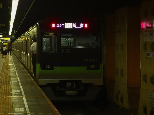 都営新宿線神保町駅1番線 都営10-520F各停新宿行き前方確認(2)