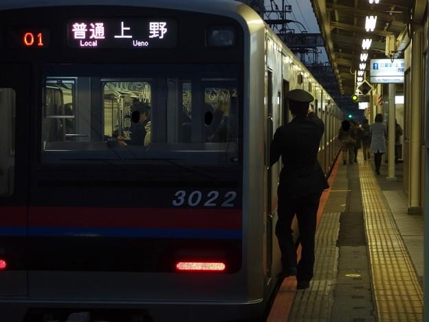 京成本線町屋駅1番線 京成3022普通上野行き側面よし