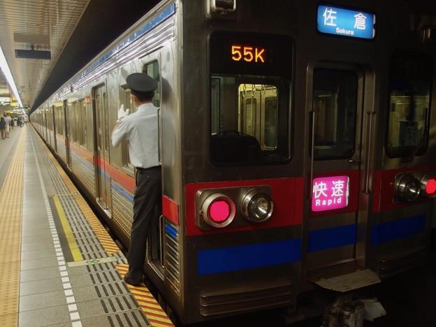 都営浅草線大門駅2番線 京成3648快速佐倉行き側面よし