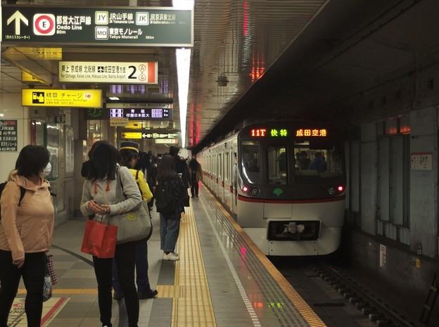 都営浅草線大門駅2番線 都営5321F快速特急成田空港行き前方確認