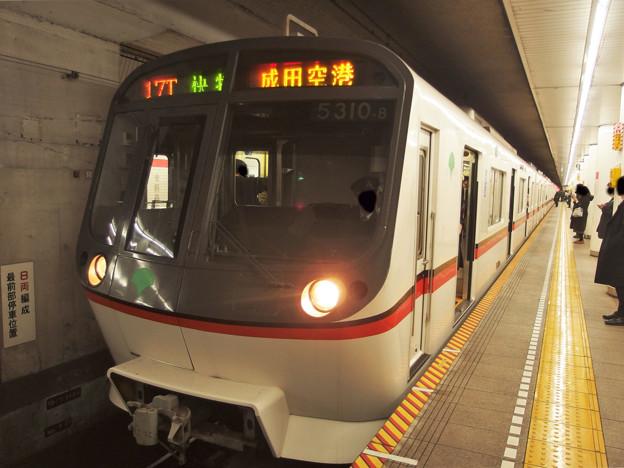 都営浅草線宝町駅2番線 都営5310F快速特急成田空港行き