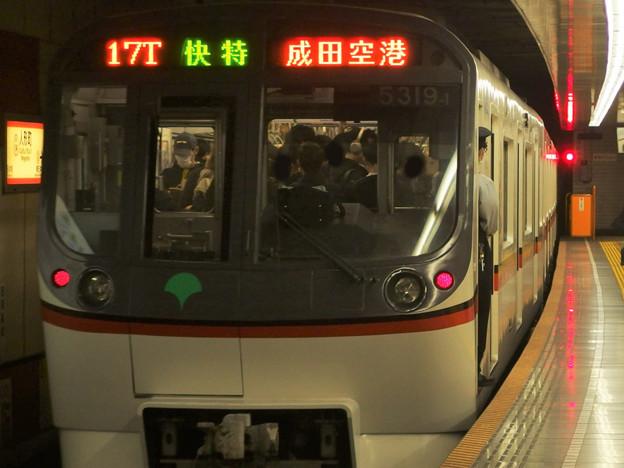 都営浅草線人形町駅4番線 都営5319F快速特急成田空港行き前方確認(2)