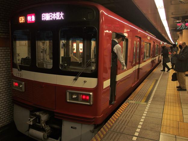 都営浅草線三田駅2番線 京急1731F特急印旛日本医大行き停止位置よし