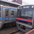 京成押上線立石駅1番線 京成3027F普通三崎口行き 北総9808Fとの並び