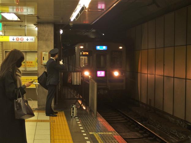京成押上線押上駅4番線 京成3658F快速佐倉行き進入