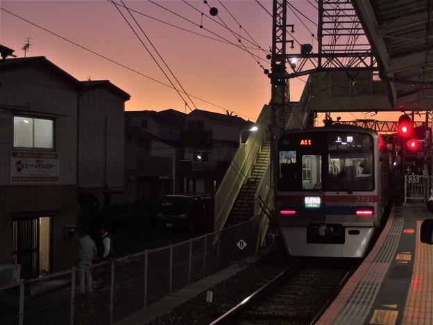 京成線高砂駅1番線 京成3858F快速特急上野行き前方確認